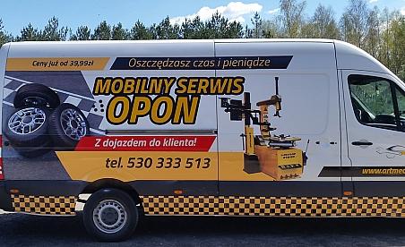 Oklejanie samochodów Kielce - Mercedes Sprinter - serwis opon