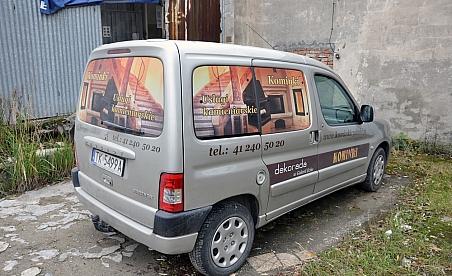 Oklejanie samochodów Kielce Peugeot Partner - Kominki Rysiński