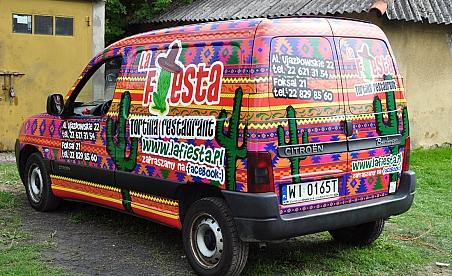 Oklejanie samochodów Warszawa - Citroen Berlingo - Restauracja La fiesta